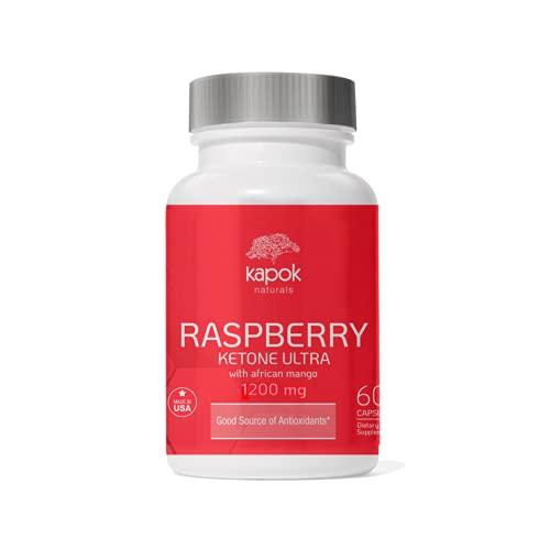 Kapok Naturals - Raspberry Ketone Ultra with African Mango (1000mg Veggie Caps) - Green Tea, Apple Cider Vinegar, Kelp & Grapefruit - Appetite Control Supplement (60 Capsules)