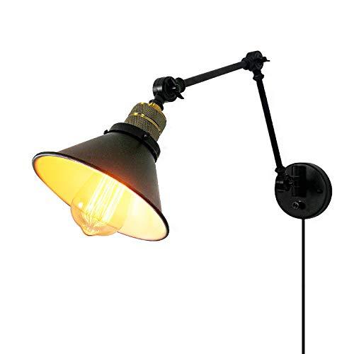 LXHK Aplique de Pared de Brazo Largo Retro, Aplique Pared con Enchufe y Interruptor, Lámpara de Pared Vintage Retro de Diseño Industrial, Aplique Giratorio Pared para Dormitorio Escaleras,Bs