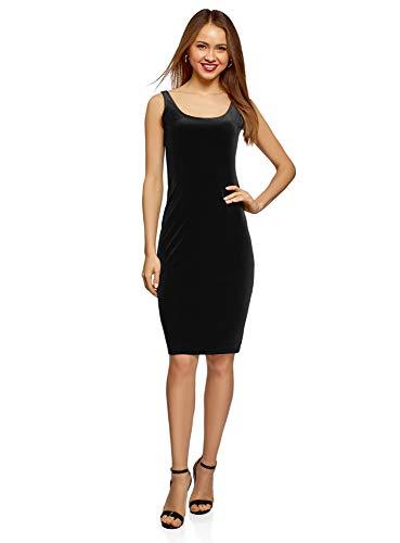 oodji Ultra Mujer Vestido-Camiseta de Tirantes de Terciopelo, Negro, ES 38 / S