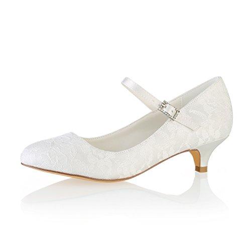 Emily Bridal BrautschuheSpitze Hochzeit Schuhe runde Kappe Mary Jane Brautschuhe Kitten Heel Mutter Schuhe (EU39, Elfenbein)