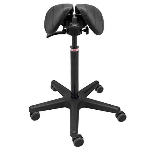 SALLI Care Small Multiadjuster Sattelstuhl mit Rollen   ergonomischer Bürostuhl   höhenverstellbar Arbeitshocker, Schwarz