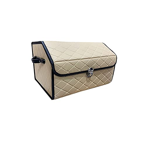 ZXCVBNM Auto-Aufbewahrungstasche Kofferraum Erstklassige Aufbewahrungs-Organizer-Box Folding Auto-Kofferraum-Werkzeug-Handschuhfach<br>(Color:beige-beige,Size:Large)