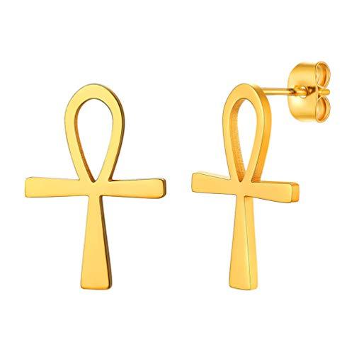 Cross Ankh Earrings African Egyptian Mythology Vintage Key to Life Egypt Women Jewelry Gift 18K Gold Plated Stud Earrings