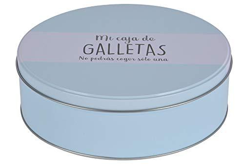 Caja Galletas Metal, Azul, 22 x 7 cm