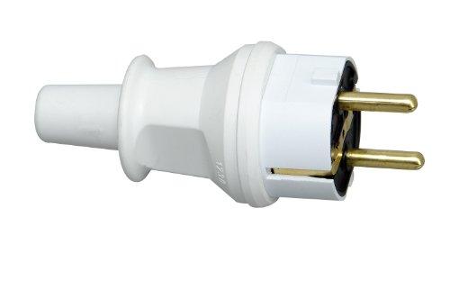 Kopp Schutzkontaktstecker mit Knickschutztülle, IP44 Schutzklasse, spritzwassergeschützt, 250V (16A), PVC, bruchfest, arktis-weiß, 173002007