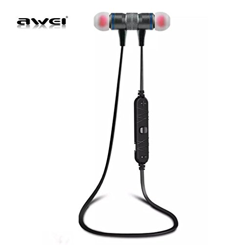 AWEI A920BL Bluetooth 4.0 Wireless Sport Exercise Stereo Noise Reduction Earbuds Build-in Microphone Earphone for Apple iPhone Galaxy S6 S5 Android Smartphones (Gray)