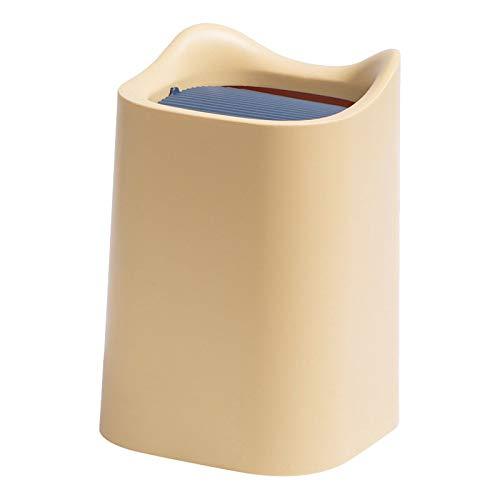 SODIAL Cubo de Basura Peque?O de Escritorio de Estilo NóRdico, Contenedor de Almacenamiento de Basura de Escritorio para Oficina, Sala de Estar, Cubo con Tapa Batida, Color Amarillo