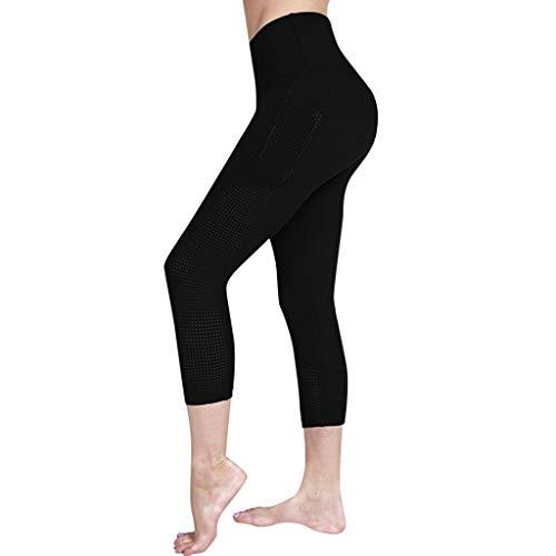 hahashop2 Sexy Damen Sport Yogahose, Lange Stretch Traininghose Fitness Legging Athletische HosenDamen einfarbig ausschnitt tasche engen hüften hohe taille yoga hosen