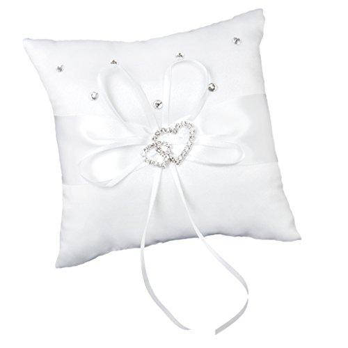 Hellery Accesorios de Fiesta de Almohada de Anillo de Bodas de Diamantes de Imitación de Corazón Blanco 15 Cm X 15 Cm