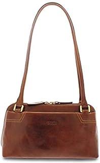 GIUDI ® - Borsa Donna in pelle vacchetta, borsa a spalla, borsa classica, vera pelle, Made in Italy. (Marrone)