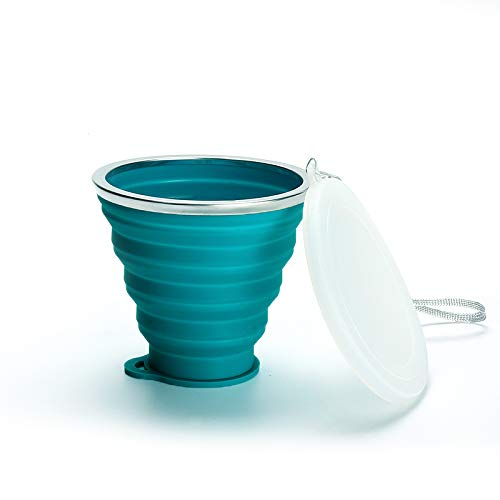 beizi Taza plegable de silicona plegable de 180 ml, portátil, telescópica, plegable, de sílice (color: 03 lago azul 180 ml)