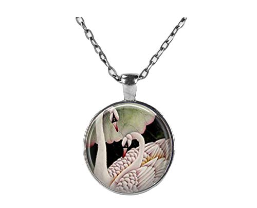 White Swan Halskette Vogel Jewelry Ugly Duckling Romantische Schwäne Art Anhänger in Bronze oder Silber mit Link Kette enthalten