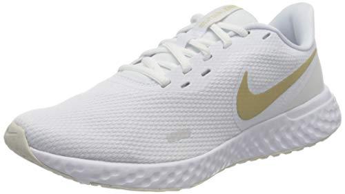 Nike Damen Revolution 5 Laufschuhe, White Metallic Gold Star Platinum Tint, 39 EU