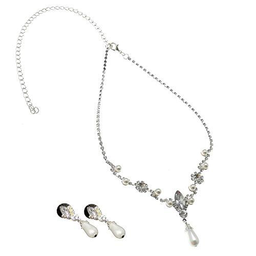 Juego de joyas de perlas brillantes para boda, collar con pendientes, pendientes de gota, collar