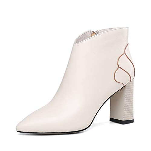 Ankle Boots for Women Platform High Heels Lace Up Buckle Strap Shoes Thick Heel Short Boot Ladies Zipper Footwear,White,38