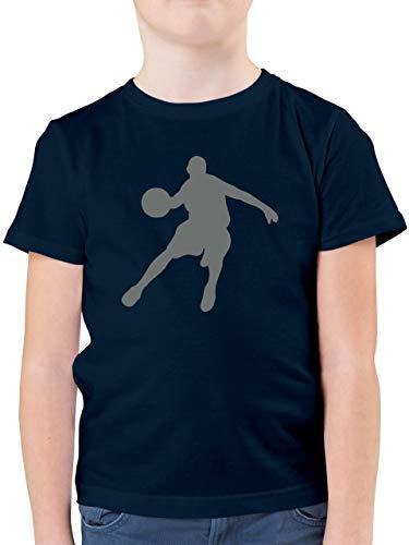 Sport Kind - Basketballspieler - 164 (14/15 Jahre) - Dunkelblau - Basketball Kinder t Shirt - F130K - Kinder Tshirts und T-Shirt für Jungen