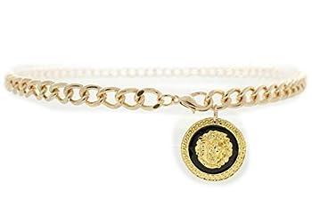 TFJ Women High Waist Hip Gold Metal Chain Fashion Belt Lion Coin Charm Buckle M L XL