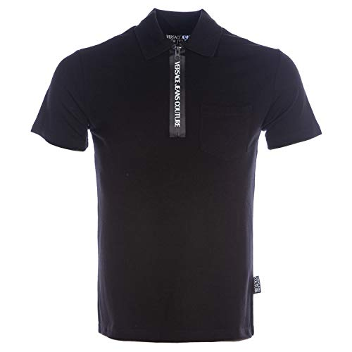 VERSACE JEANS COUTURE Tape Zip Polo Shirt in Black