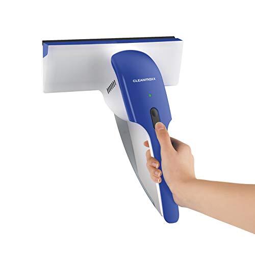CLEANmaxx Fenstersauger | Akku betrieben, ca. 25 min Dauerbetrieb | Inkl. Wasser-Rückführungs-System [Innovativer Schmutzwasserindikator, Akkuladestandsanzeige]