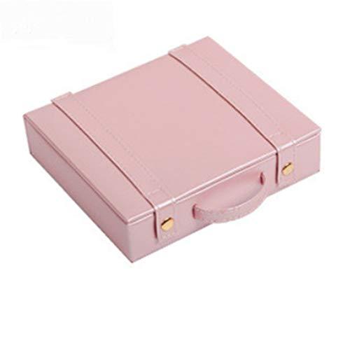 Yousiju Caja de Embalaje de Viaje Organizador de Maquillaje cosmético Pendientes Anillos de exhibición Organizador Estuche de Transporte (Color : Pink)