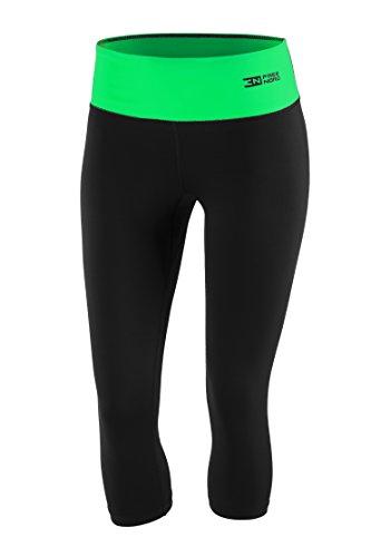 Fittech Performance Legging thermoactif pour femme, short moulant, pantalon 3/4 pour fitness, yoga, sports d'extérieur, cyclisme, course à pied L noir/vert