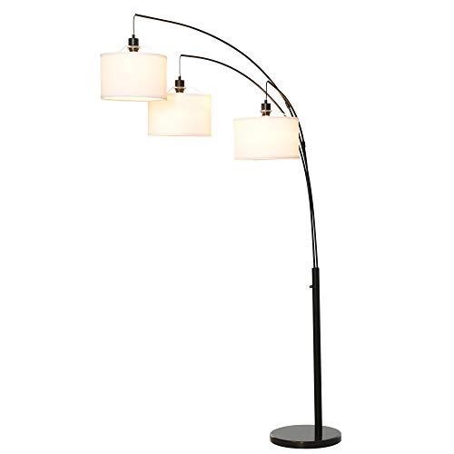 homcom Lampada da Terra con 3 Luci e Braccia Flessibili, Base in Marmo e Palo in Metallo, 103x34.5x205cm, Nero e Bianco