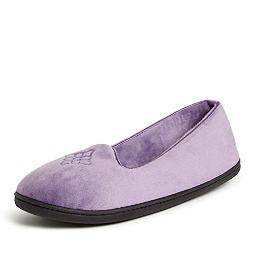 Dearfoams Women's Rebecca Microfiber Velour Closed Back Slipper, Smokey Purple, Large Wide