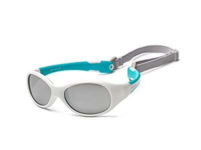 Koolsun Gafas de sol para bebé (0 – 3 AñOS   VERS piegelt   koolsun Flex White Aqua  100% protección UV   con desmontable Diadema   Optical Clas 1, cat. 3   flexible