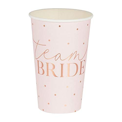 Miss Lovely XXL Party-Becher JGA Team Bride roségold Kupfer Blush rosa gepunktet Einweg-GeschirrTisch-Deko Junggesellinnenabschied Junggesellen-Abschied Party Accessoires