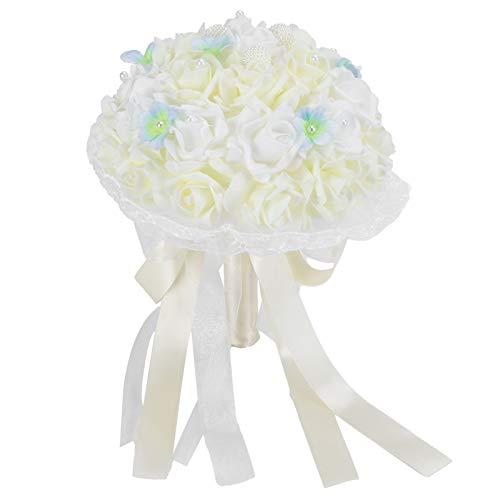 Fournyaa Novia sosteniendo Flores, sosteniendo Flores, Ramo de Rosas Suministros de Boda Exquisito Respetuoso con el Medio Ambiente Decorativo Duradero para Fotos de Boda(Milky White)