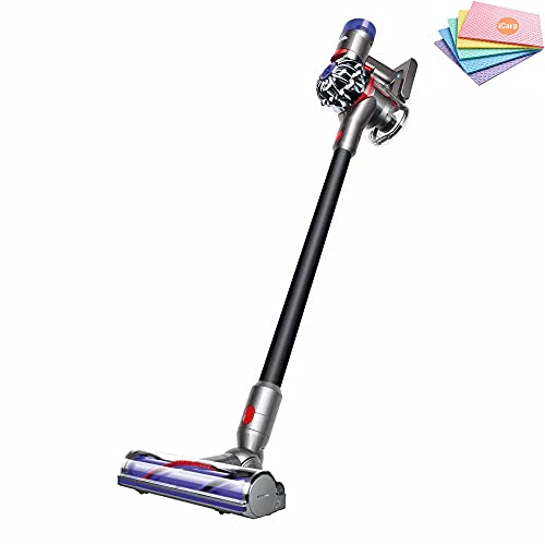 Flagship Dyson V8 Motorhead Cordless Stick Vacuum Cleaner: Lightweight Design, HEPA Filter, Bagless, Direct-Drive Cleaner Head, Rechargeable, 2 Tier Radial Cyclones (Black) + Sponge Cloth