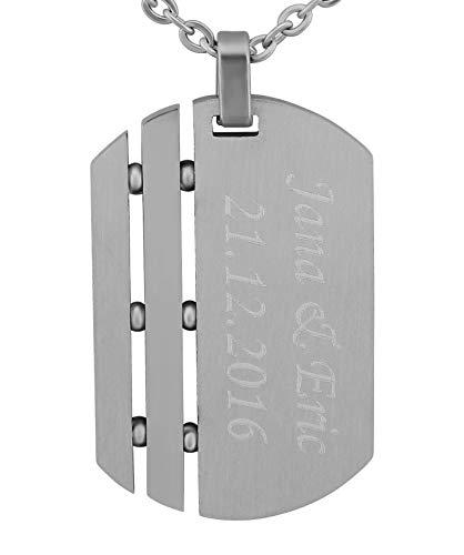 Hanessa Gravierte Dog-tag cadena con grabado y decoración. Colgante de acero inoxidable plateado de la marca de detección. Collar de acero inoxidable plateado, regalo para mujer y hombre para el día de San Valentín.