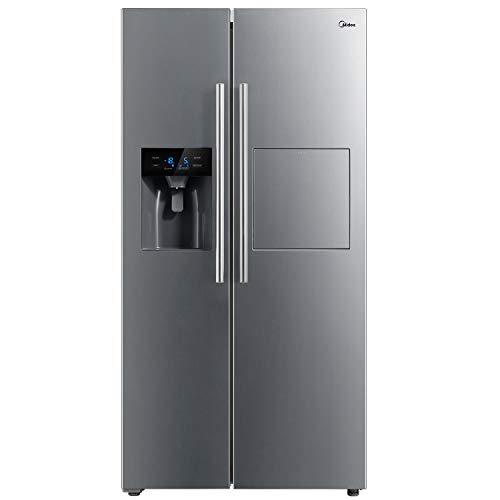 Midea KS-FIX 6.13 EX Side-by-Side Kühl-gefrierkombination/ A+/178,8 cm/409 kWh/Jahr/334 L Kühlteil/156 L Gefrierteil/No Frost/mit Barfach und Wasser-/ Eisspender mit Festwasseranschluss