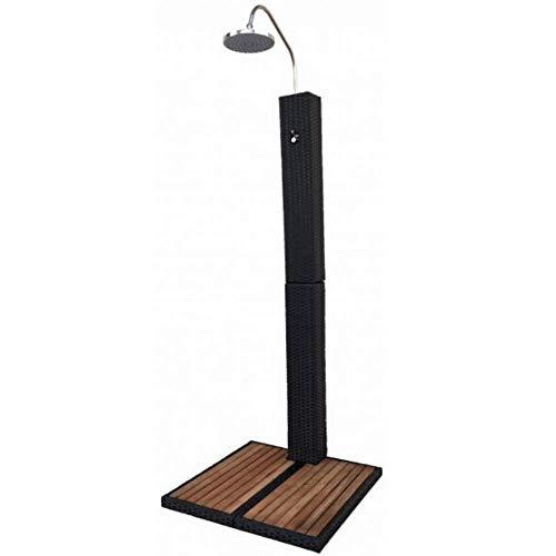 LuxuryGarden - Ducha de jardín de ratán y acero, con alcachofa y plataforma de madera, 70 x 70 x 215 cm
