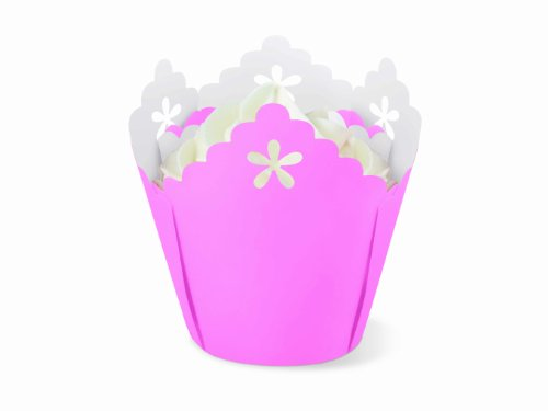 Wilton Pink Flower Pleated Eyelet Baking Cups, 15 Count