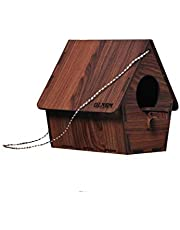 GLNRM Wooden Bird House Nest Box for Garden Birds Wood Bird Nest Garden Outdoor Decor for Attracting Birds for Bulbul Sparrow Budgies and Finches -Brown 1pcs