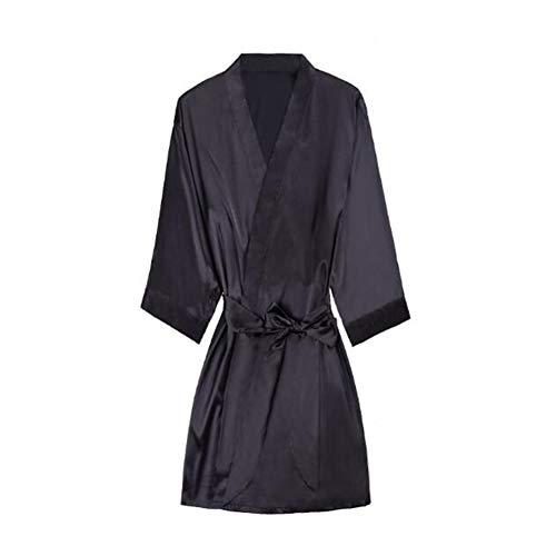 Yiyu Unisex Bademantel Kimono Satin Langarm Seidige Hochzeit Nachtwäsche Nachtwäsche Schlafanzug Größe x (Color : Black, Size : L)