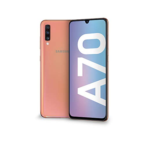 Samsung Galaxy A70 Smartphone, Display 6.7' Super AMOLED, 128 GB Espandibili, RAM 6 GB, Batteria 4500 mAh, 4G, Dual Sim, Android 9 Pie,  [Versione Italiana], Coral