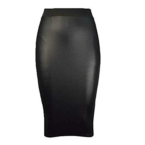 FunkyFashion - Falda para Mujer, Piel sintética de PVC, Tubo elástico Negro Negro (44/46 ES