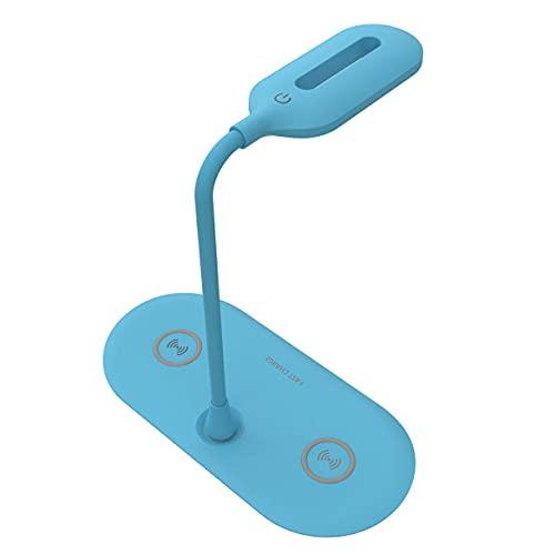 Surgewavelv Lámpara de Escritorio LED, Lámpara de Escritorio LED Carga inalámbrica Doble 3 Pasos Lámpara de Mesa Regulable para cuidar los Ojos Luz de Lectura Cargador inalámbrico - Azul