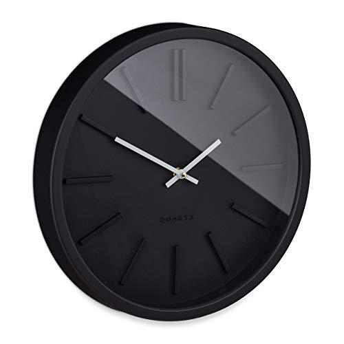 Relaxdays Reloj de Pared sin Ruido de tictac, Moderno, analógico, para Cocina, salón, Dormitorio, Redondo, diámetro de 35 cm, Color Negro, 1 Unidad