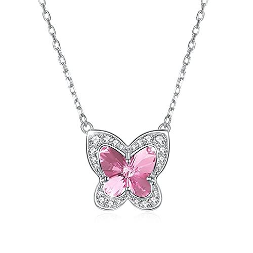 BENHAI Mujer/Niñas Cristales Colgante Collar, 925 Plateado Swarovski Element Cristales Joyería Regalo para el día de la Madre para Mujer De Amor Regalos para Mamá Niñas 43+5cm (Color : Pink)