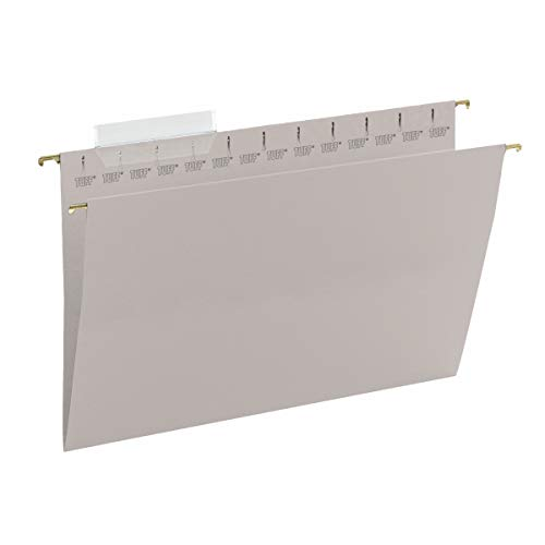 Smead TUFF Hanging File Folder with Easy Slide Tab, 1/3-Cut Sliding Tab, Legal Size, Steel Gray, 18 per Box (64093, Rod Color May Vary)