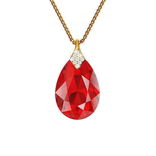 24K Gold Plated 925 Sterling Silver Necklace with Crystals from Swarovski – Light Siam – Necklace with Pendant for Women – Beautiful Jewellery for Women with Gift Box
