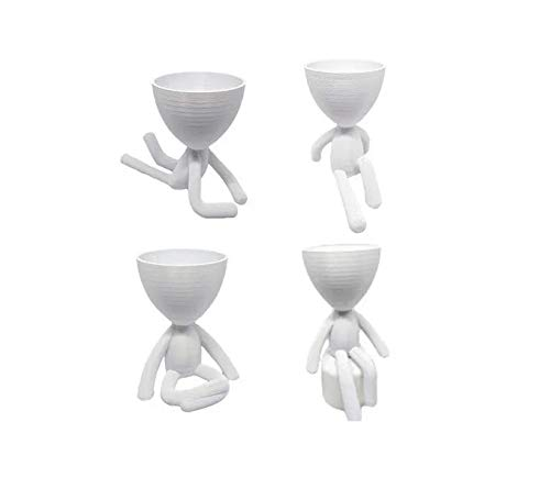 Kit 4 Vasos Decorativos Suculentas Bbb - Robert Plant Bob (Branco)