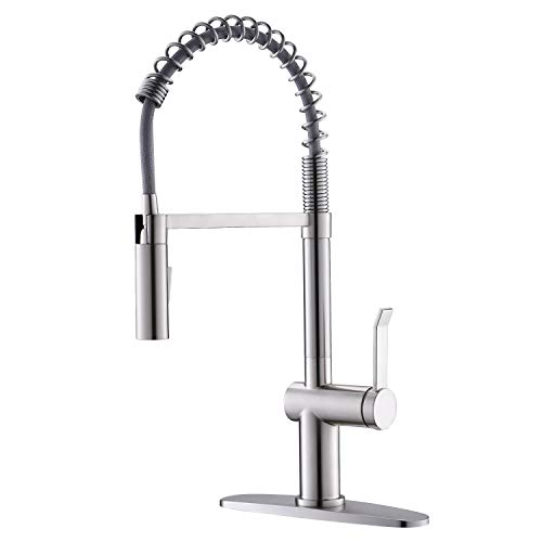 APPASO Kitchen Faucet, Commercial Pull Down Kitchen Faucet with Sprayer, Single Handle One Hole Spring Kitchen Sink Faucets, Low Lead Solid Brass, Stainless Steel Brushed Nickel, APS238BN
