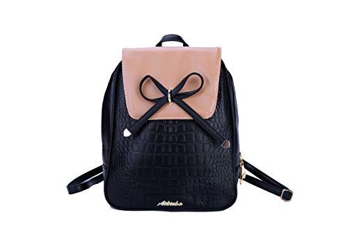 Yoodeet PU-Leder Frauen Rucksack Schultaschen für Jugendliche Mädchen Daily Backpack (Schwarz)