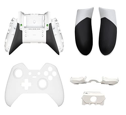 Replacement Full Housing Shell Case Cover Faceplate Repair Parts Accessories Kit with LB RB Bumpers Triggers + Back Panels Side Rails Rear Handle Grip for Xbox One Elite Controller (Model 1698)