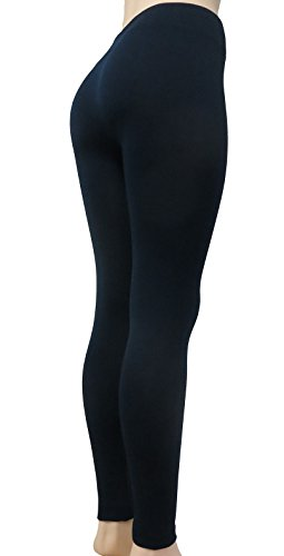 Sofra Women's Warm Classic High Waist Wide Band Solid Leggings (Navy, 1)