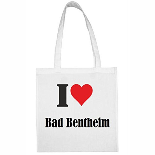 Tasche I Love Bad Bentheim Größe 38x42 Farbe Weiss Druck Schwarz